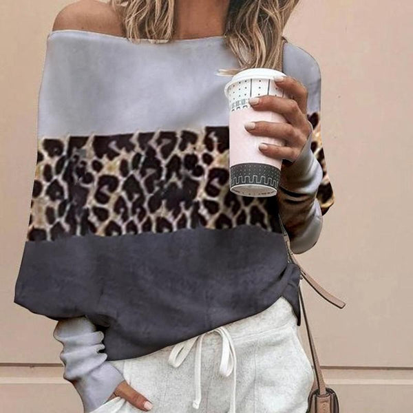 Simple Stitching Leopard Off-The-Shoulder Sweater
