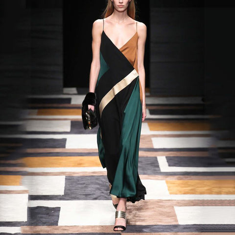 Elegant Spaghetti Strap Color Block Maxi Dress