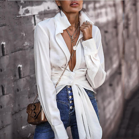 Casual Ruffle Knotted Blouses