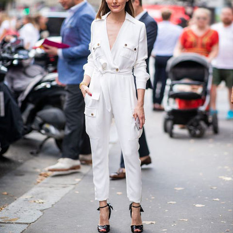Fashion deep v white long sleeves jumpsuit