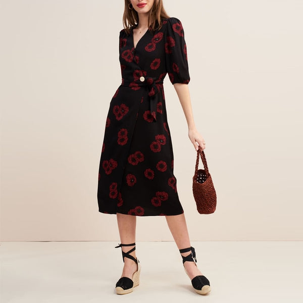 Casual V Neck Halflong Sleeve Printed Colour Midi dress