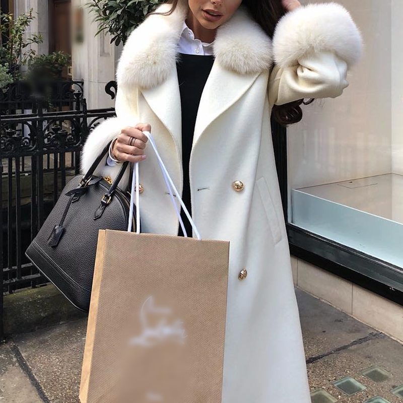 Fashion ladies fur colloar fur sleeve mouth long overcoat