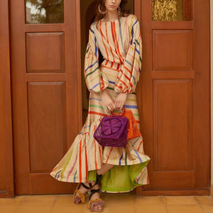 Chic Stripe Lantern Sleeves Floral  Maxi Fishtail Dress