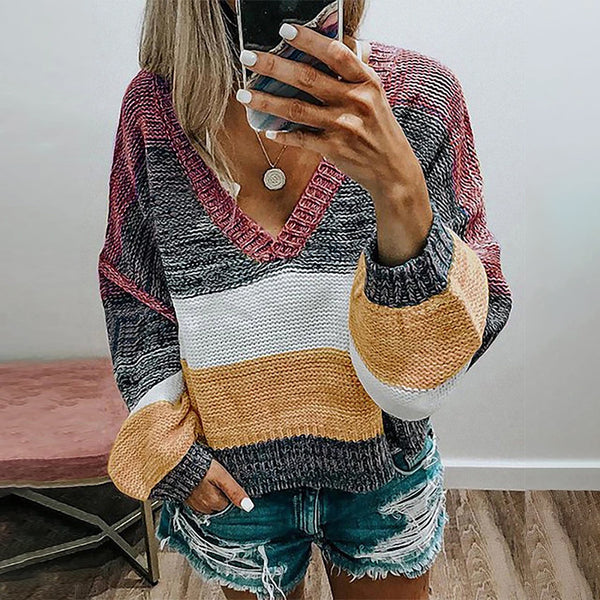 Color Block Casual Wear V-neck Sweater Pullover Knit Sweater
