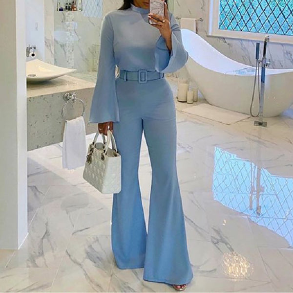 Women's Half Turtleneck Flare Sleeve Waist Jumpsuit