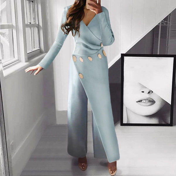 Commuting V Neck Buttons Pure Colour Jumpsuit