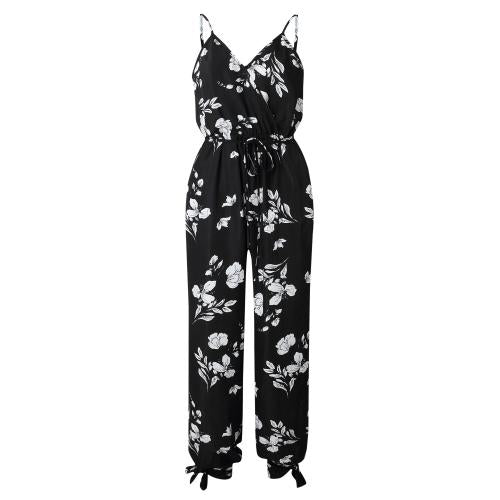 Sexy Fashion Spaghetti Straps Floral Printed Jumpsuit