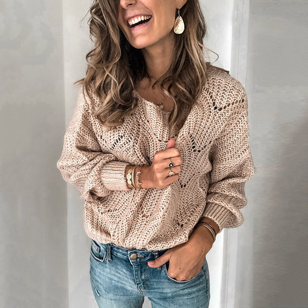 Casual Round Neck Solid Color Openwork Long Sleeve Sweater
