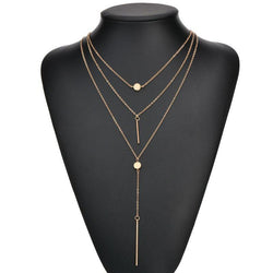 Small Dot Fringed Sling Stick Multi-Layer Necklace