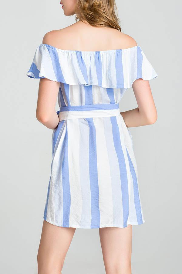 Sexy Off Shoulder Stripe Mini Dress