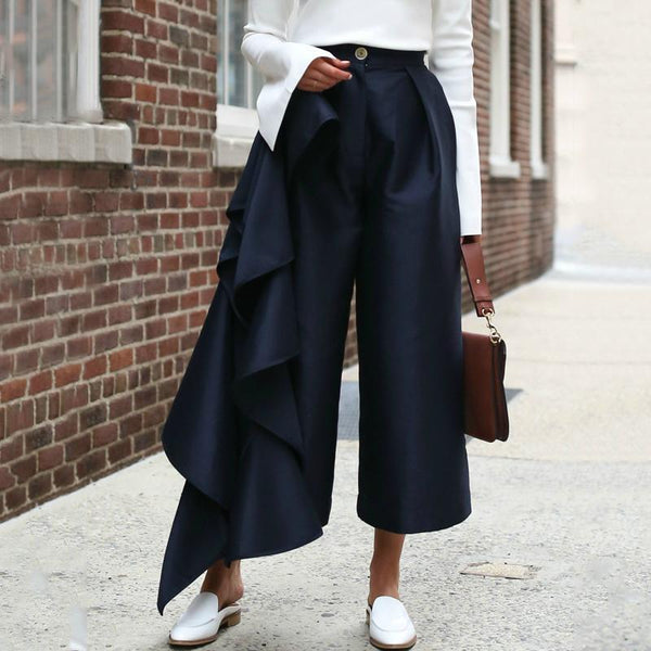 Fashion Solid Color Loose Broad Leg Pant