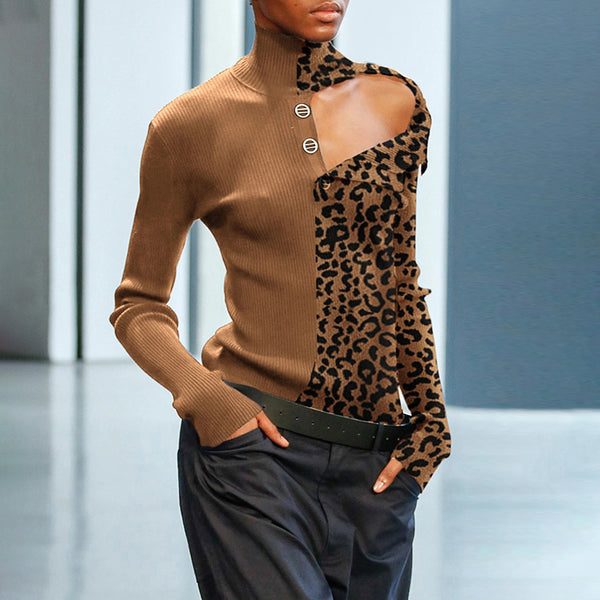 Casual High Collar Single-breasted Splicing Leopard Print Coloring Sweater