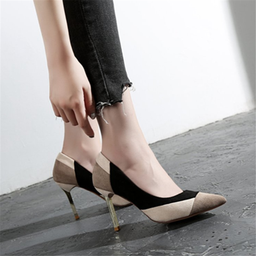 Pointy versatile simple color matching high heels