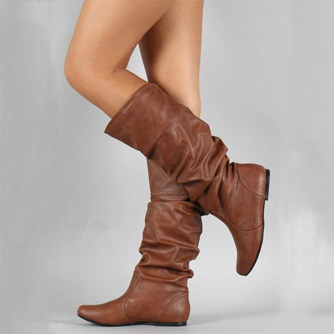 Fashion Retro Solid Color Flat Bottom Boots