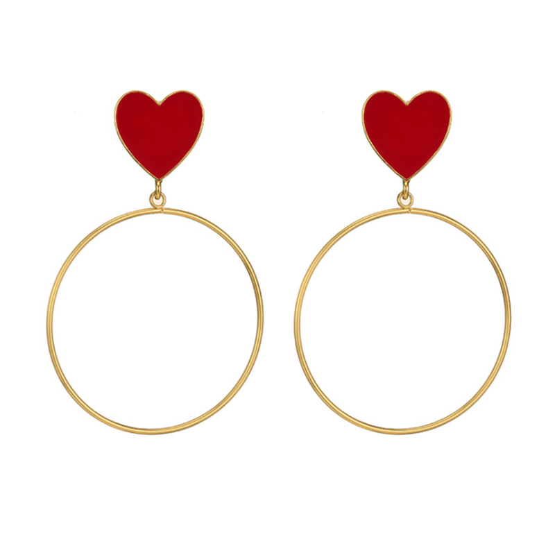 Women's Heart Shaped Ring Alloy Earrings