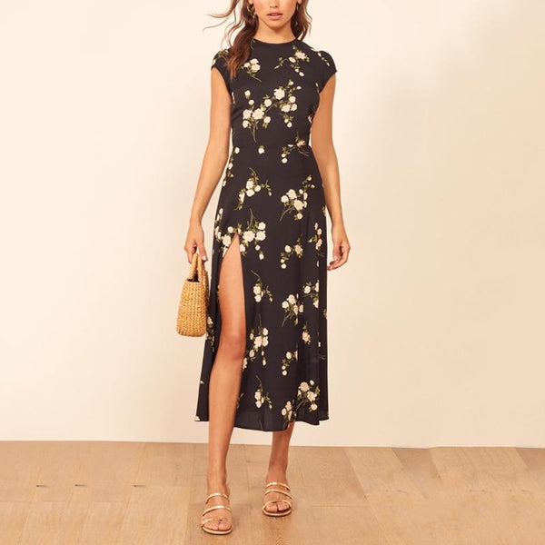 Elegant Round Neck Short-Sleeve Side Slit Print Midi dress