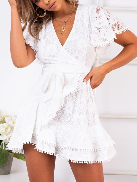 Sexy Lace V-Neck Tassel Lace-Up Short-Sleeved Mini Dress
