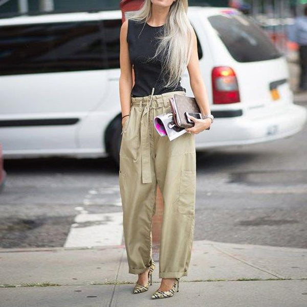 Fashion Strap Loose Solid Color Wide Leg Pants