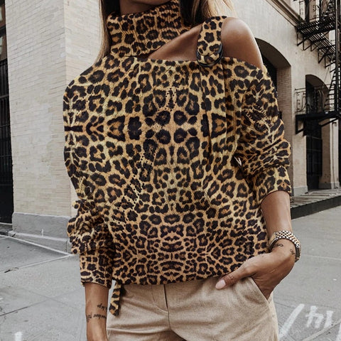 Fashion Pile Collared Off-the-shoulder Leopard Knit Sweater