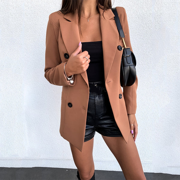 Casual fashion solid color long-sleeved double-breasted blazer