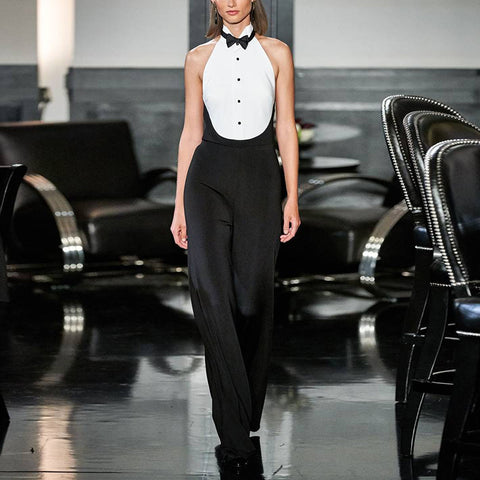 sexy bow tie sleeveless black and white long jumpsuit