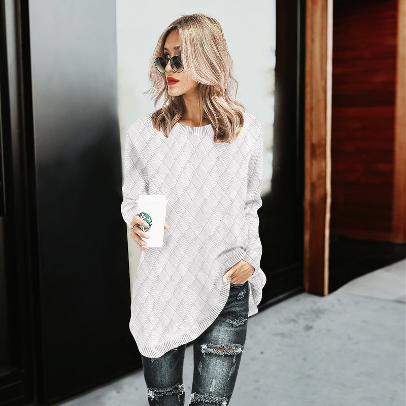 O-Neck Knitwear Solid Color Pullover Baggy Grid Sweater
