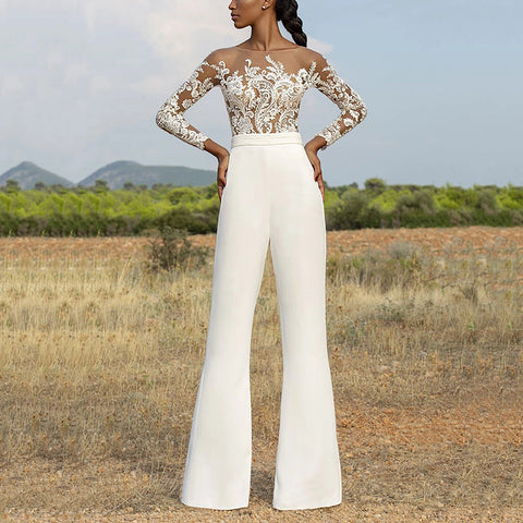 Casual Round Neck Long Sleeve Jumpsuit