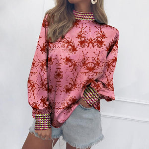 Fashion Vertical   Collar Long-Sleeved Print Matching Shirt