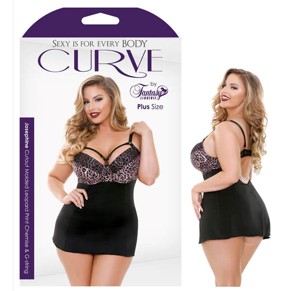 Curve Josephine Cutout Molded Leopard Print Chemise & G-String (Size 1x/2x)