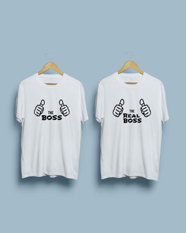 Boss & The Real Boss Couple Round Neck White T-Shirt  (Pack of 2) by Rupchik by Rupchik RUPCHIK rupchik.myshopify.com