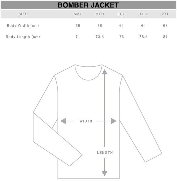Unisex Bomber Jacket Size Chart Gothic Alternative Clothing Australia
