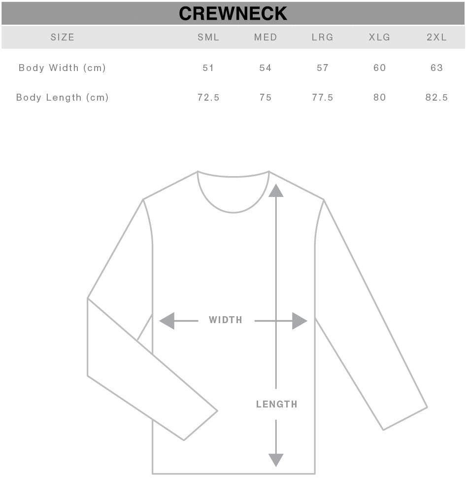 Unisex Crewneck Sweater Size Chart Gothic Alternative Clothing Australia