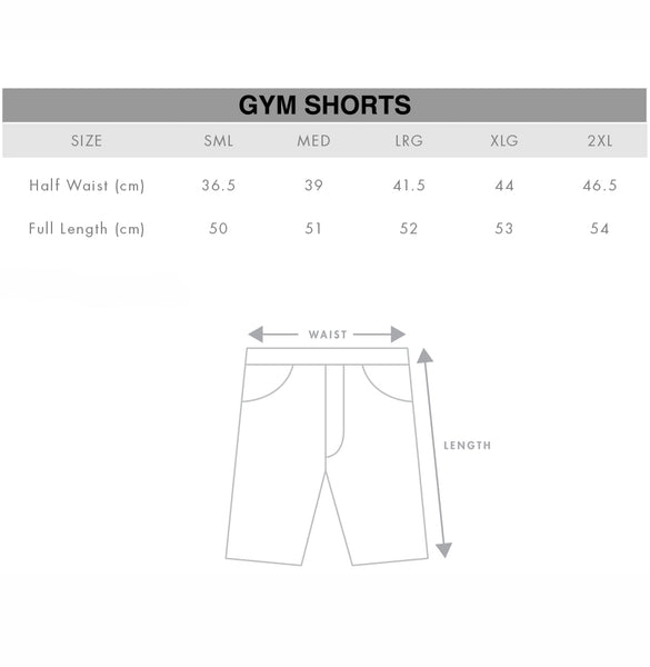 Unisex Gym Shorts Mosh Shorts Size Chart Gothic Alternative Clothing Australia
