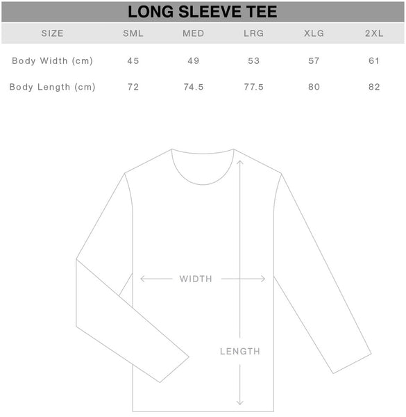 Long Sleeve Tshirt Size Chart Gothic Alternative Clothing Australia