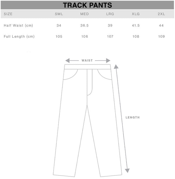 Track Pants Size Chart Gothic Alternative Clothing Australia
