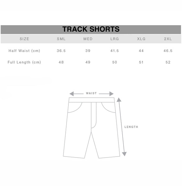Unisex Track Shorts Size Chart Gothic Alternative Clothing Australia