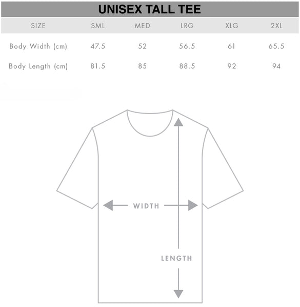 Unisex Tall Tee Size Chart Gothic Alternative Clothing Australia