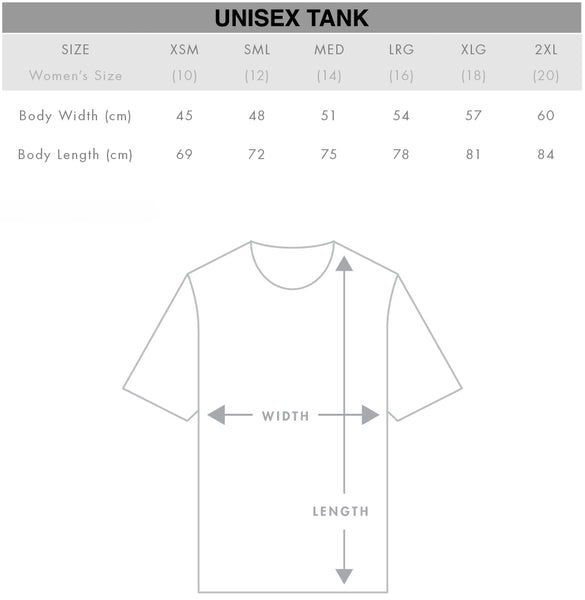 Unisex Tank Top Size Chart Gothic Alternative Clothing Australia