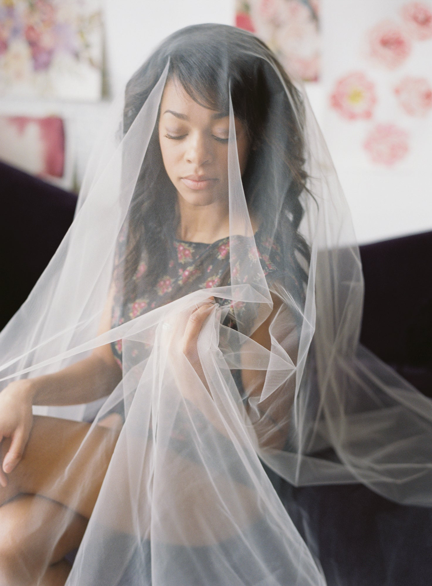 wedding veil modest boudoir photo shoot