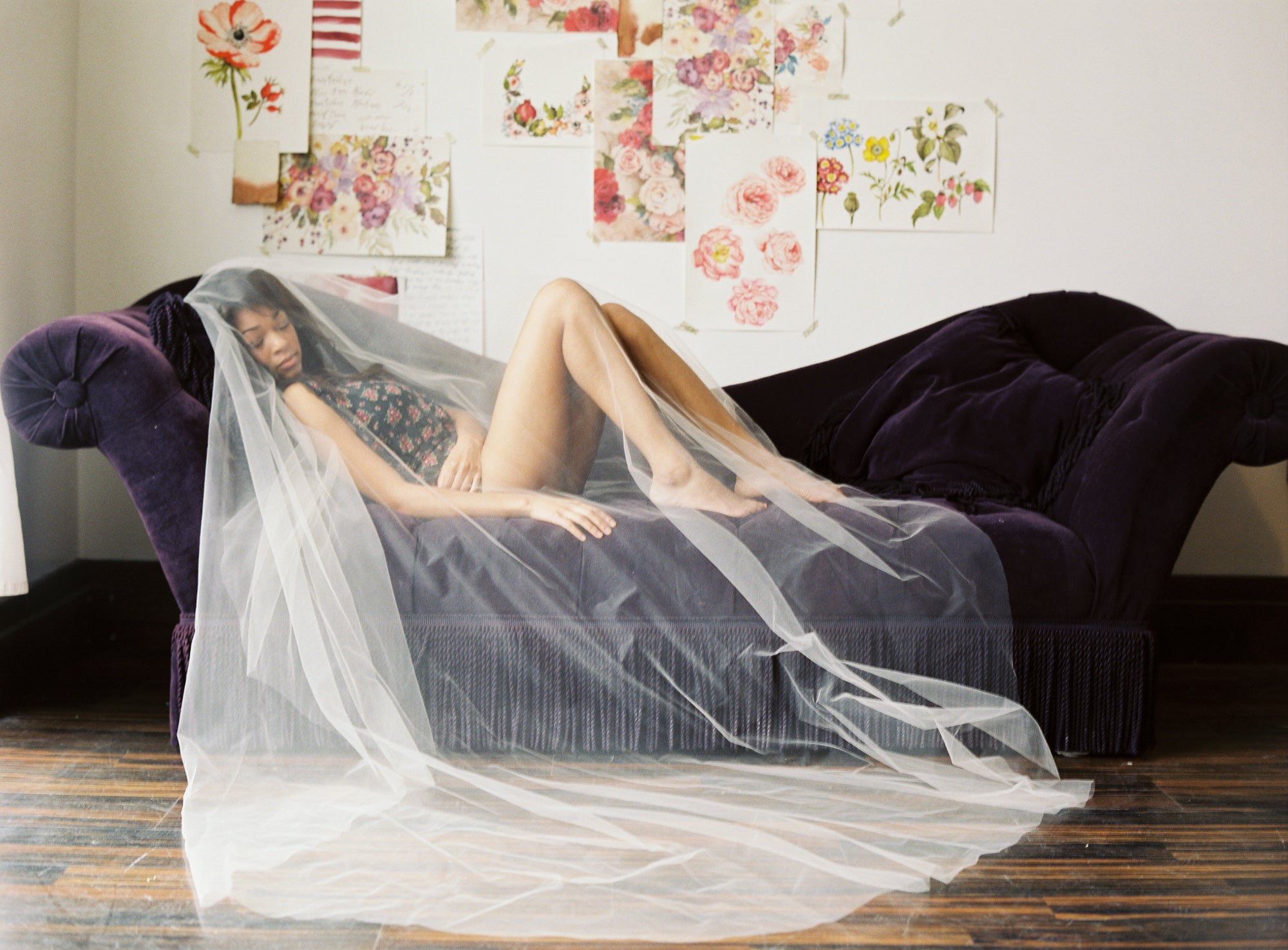 cathedral wedding veil bridal boudoir photo shoot