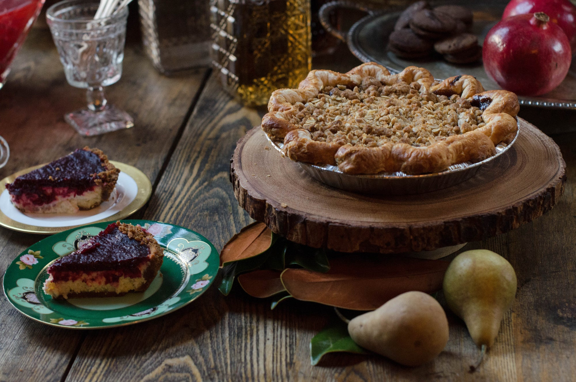 This rustic winter wedding dessert table with pie and fruit would also be great for a holiday gathering
