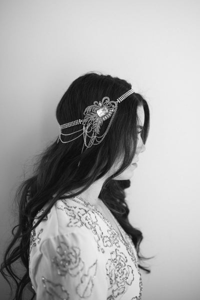 Danani | Nouveau Halo Swag Headpiece - Style #204 | Hunter Kofford Photograhpy