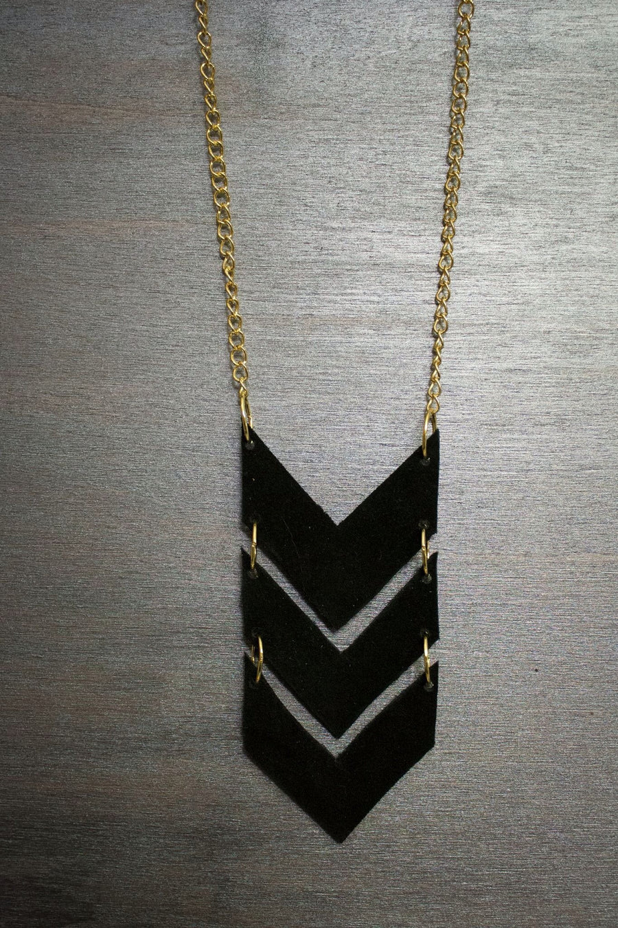 Scout Leather Chevron Necklace - Black