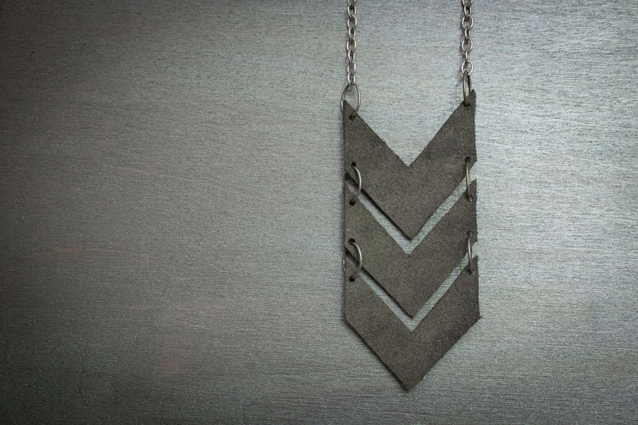 Scout Leather Chevron Necklace - Slate