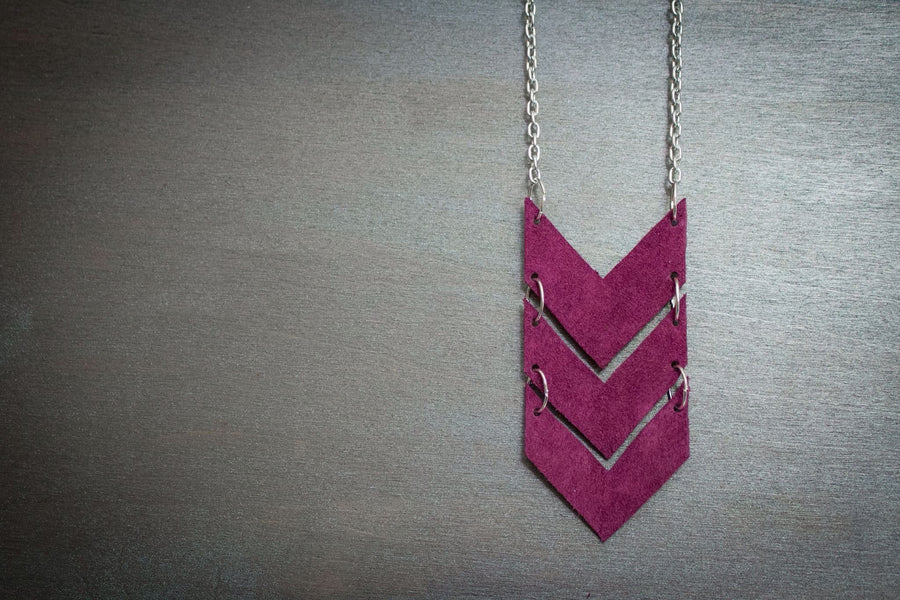 Scout Leather Chevron Necklace - Berry