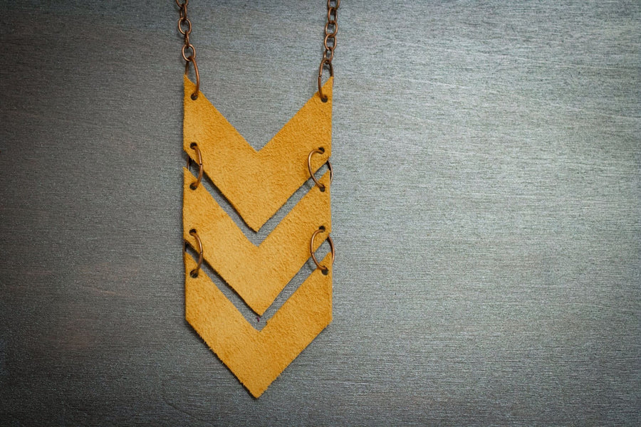 Scout Leather Chevron Necklace - Mustard