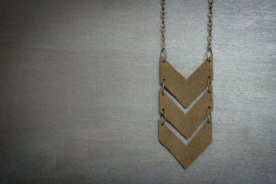 Scout Leather Chevron Necklace - Army Fatigue