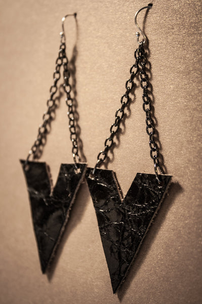 Archer Leather Earrings - Black Croc