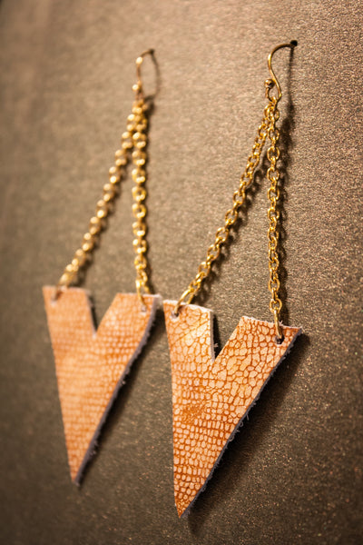 Archer Leather Earrings - Copper Snake