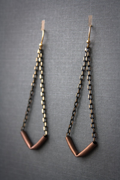 Athens Mixed Metal Earrings - Copper